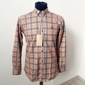 Burberry Brit Camel Check Casual Button Down Shirt